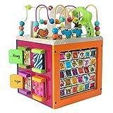 Abacus Toy Madera multifunción caja de la inteligencia en forma de emparejamiento Alrededor de Puzzle El anillo que golpea el piano infantil Digital Inglés moldeado de la caja del tesoro Juguetes educ