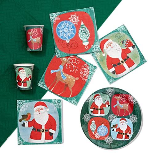 61 Piezas Vajilla Desechable para Fiestas de Navidad| Colores Festivos, Papá Noel y Renos| 15 Platos de Papel, 15 Vasos, 30...