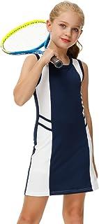 AOBUTE Girls Tennis Golf Dress Set Sport Sleeveless Dress with Shorts 6-12 Years