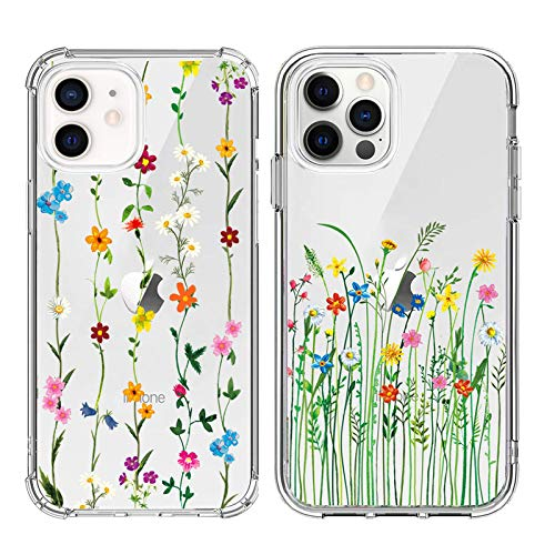 UTLK Clear Case for iPhone 12/12 Pro Case [ 2 Pack ] with Design Flower Slim Protective Soft TPU Embossed Pattern Cover Case for iPhone 12 Pro / 12,6.1 Inch