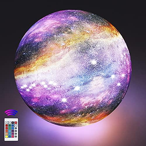 20cm Mondlampe mit Fernbedienung,OxyLED Sternenhimmel Dekoleuchte 3D Mond Kunst LED RGB Mondlampe tragbares Nachtlicht mit Dimmbar,16 Lichtfarben Wechsel,Weihnachten,Geburtstag