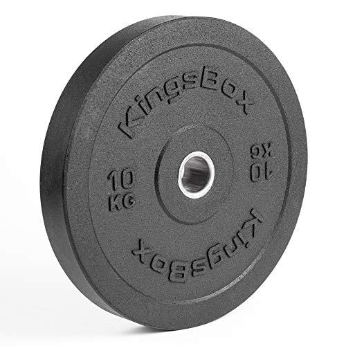KingsBox Hi-Temp Bumper Plates 3.0丨Pesas Olímpicas Estándar para Barras, Levantamiento de Pesas丨Fabricado en Europa丨Amortiguadores de Golpes, Rebote Mínimo丨Material Acero y Goma丨Venden por Pares丨10 kg