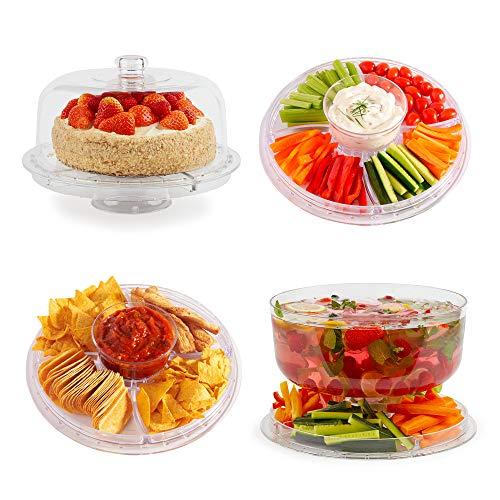 VonShef Multifunktionaler Kuchenständer/Chip & Dip Platte/Bowle-Schale/Salatschüssel – Ideal für Feierlichkeiten