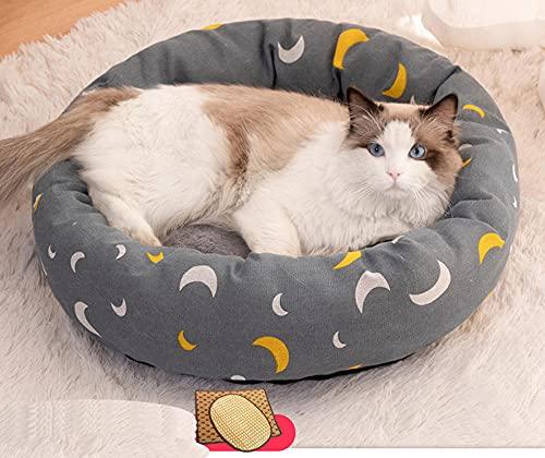 Cama Redonda de Felpa Suave para Gatos y Perros,Colchón Universal para Mascotas de Cuatro Estaciones Nido para Perros-A + Almohada + Mat_L #,Colchón de Verano para Perros