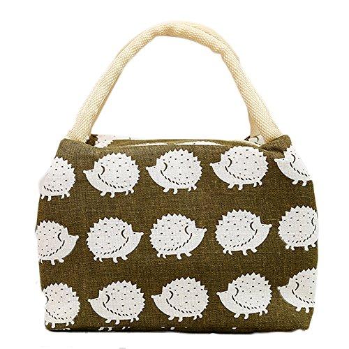 weimay Picknick Isolierte Baumwolle Leinen Notebook Tasche Wiederverwendung von Lebensmitteln Tüten weichen & # xff08; Schnittmuster Kühler von Igel & # xff09;