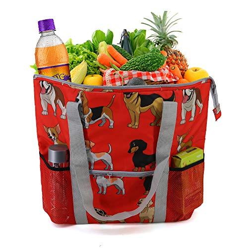 XLarge Thermal Cooler Tote Shopping Bag Washable Food Delivery Bag With Zipper Top Long Handles Durable Reusable Insulated Grocery Bag for Cold and Hot Food Transport Heavy Duty Dog Pattern