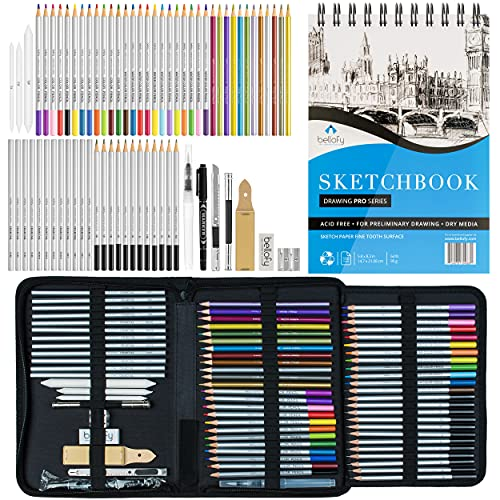 Bellofy Sketching Drawing Kit Set 72-Piece and 100 Sheet Sketchbook | Art Supplies for Adults, Teens, Kids | Watercolor & Graphite Drawing Coloring Art Pencils Set | Artist Supplies Drawing Stuff