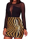 - 807 - Black Sheer Mesh Long Sleeves Club Sequins Dress Plus Size (Gold, 3X)
