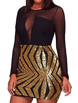 - 807 - Black Sheer Mesh Long Sleeves Club Sequins Dress Plus Size  Gold 2X
