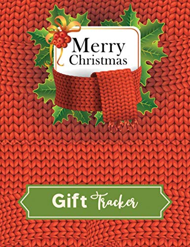 Merry Christmas Gift Tracker: Knitted Christmas Tree Pattern Red Background.Christmas Menus plan,Christmas Day Schedule ,Decorating Ideas, My Wish ... Online Shopping Tracker nand Much more.