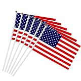 LIziZhao 6pcs5x8 Inch USA Stock-Flagge, Amerikanischer US Handminiflagge-Fahne 30cm Pole Vereinigte Staaten Handstrich Flaggen Banner