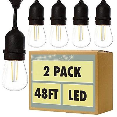 Fulton Illuminations S14 Outdoor String Lights, 48 Feet - Commercial Weatherproof Patio String Lights
