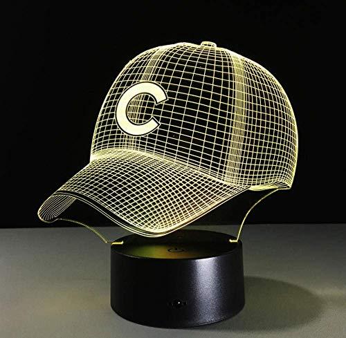 3D Hip Hop Baseball Team Kappe Led 3D Illusion Nachtlicht 7 Farben USB Baseball Hut Hologramm Visuelle Lampe