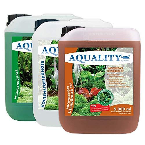 AQUALITY Aquarium Pflanzen-Pflege 3er KOMPLETT-Spar-Set (GRATIS Lieferung in DE - Pflanzendünger - Eisendünger - CO2 Kohlenstoffdünger für einen perfekten Pflanzenwuchs), Set-Größe:Set 5000