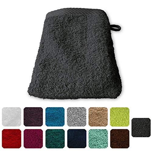 Lanudo Pure Line Waschlappen Waschhandschuh 100% Baumwolle 21 x 15 cm, Farbe Anthrazit