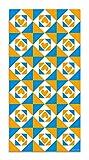 Panorama Agatha Ruiz de la Prada Alfombra Vinílica Baldosas Corazones Naranja y Azul 40x80cm - Alfombra Cocina Vinilo - Alfombra Salón Antideslizante e Ignífuga - Alfombras Grandes - Alfombras PVC