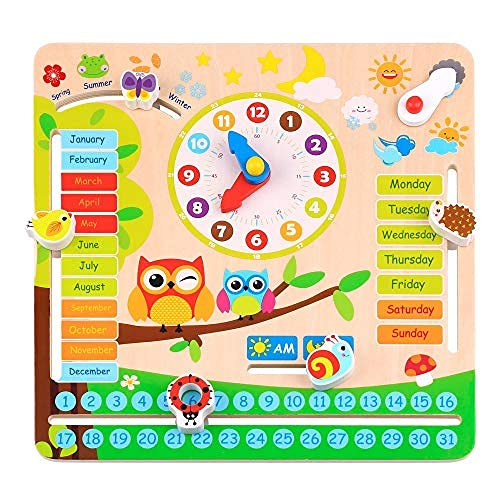 woody treasures - Montessori Wooden Toys Kids Clock - Wooden Toy for 3 Year Olds - Unique Learning Toy for Toddlers Learn About Seasons, Months, Days of Week, Time Telling - Educational and Fun
