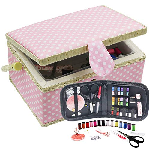 VILONG Wooden Sewing Basket,Sewing Box with Sewing Kit Accessories Vintage Organize Box for Mon Grandma Girl Women hobbyist Household