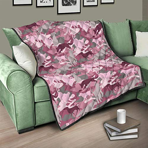 Flowerhome Colcha de camuflaje rosa con perro, para todo el año, color blanco, 180 x 200 cm
