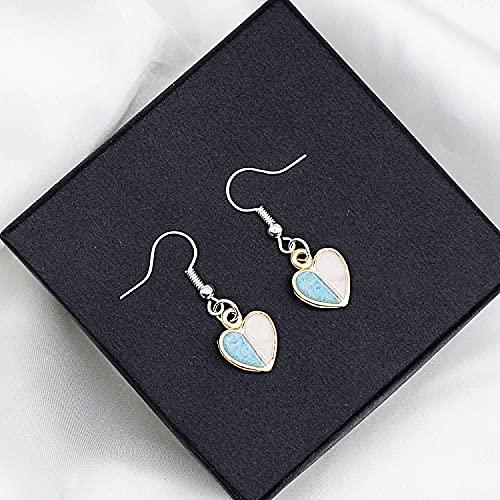 WANGSHI Süße Tier Ohrring Schmuck Geometrie Kleine Chrysantheme Ohrring Ohrringe Geeignet Für Reisen 12. Hellblaue halbe Liebe