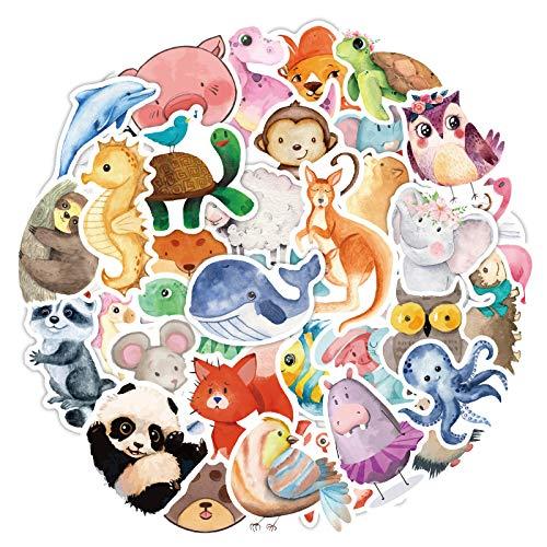 80Pcs Mix Animals Waterproof Stickers for Kids Water Bottle Laptop Cartoon Watercolor Vinyl Decal