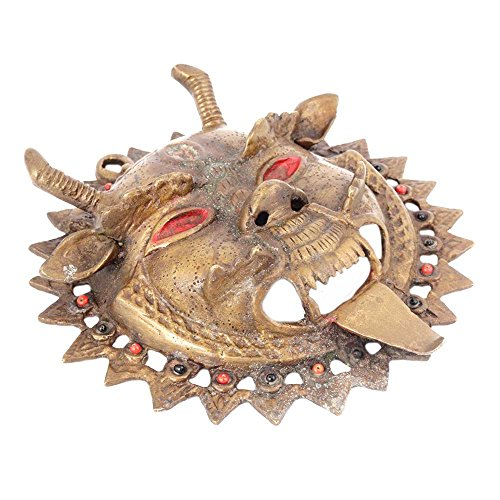 Indian Shelf Máscara de la deidad tibetana hecha a mano de latón vintage con...