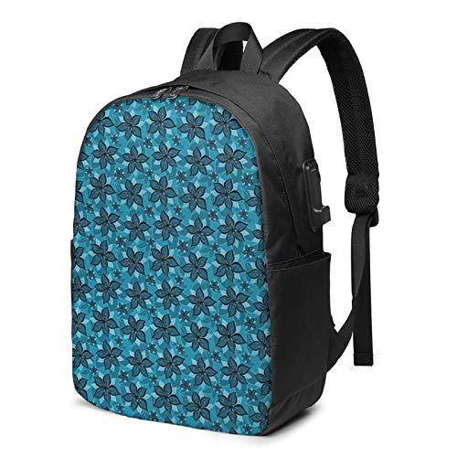 WEQDUJG Mochila Portatil 17 Pulgadas Mochila Hombre Mujer con Puerto USB, Dibujos Animados de Tonos Azules de Verano Mochila para El Laptop para Ordenador del Trabajo Viaje