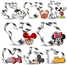 Cookie Cutters Mickey Minnie Mouse-8 Pieces Set,Stainless Steel Sandwich Cake Cutter Set Baking Molds, Bownot, Minnie and More Shapes for Party Treat Decoration