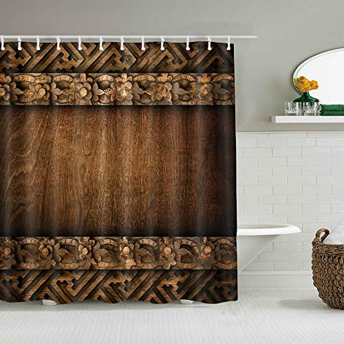 ALLMILL Shower Curtain Rustic Wood Barn Door Vintage Style Western Country Waterproof Bath Liners Hooks Included - 72 x 72 inches Bathroom Decorative Ideas Polyester Fabric Accessories
