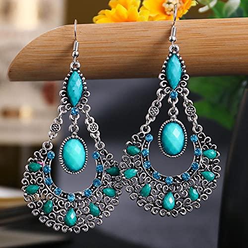 CXWK Pendientes Largos Huecos con Gota de Agua de Metal Dorado Vintage para Mujer, joyería de Tailandia, Pendientes con Cuentas de Piedra púrpura étnica, Perchas