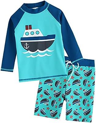 VAENAIT BABY Kids Boys Rashguard Swimsuit Long Shirt and Shorts Set Ocean Boat S