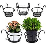 3-Pack Iron Art Hanging Metal Railing Planters Over The Rail Flower Pot Plant Holder Hanging Plant Stand for Balcony, Porch, Fence, Patio, Indoor and Outdoor Home Decoration (Black)