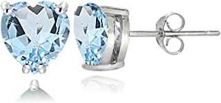 Sterling Silver Genuine, Created or Simulated Birthstone Gemstone 5mm Heart Stud Earrings