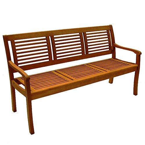 Casaya Gartenbank Paolo 3-Sitzer aus Eukalyptus Hartholz Holzbank in Teakoptik