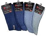 MissKokett 8 Paar Ges&heitssocken mit elastischem Komfortb& und ohne Zehennaht Herren Damen, Blautöne - Gr. 39-42