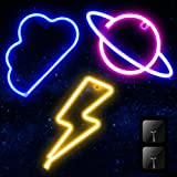 3 Pieces Neon Signs for Wall Decor USB or Battery LED Colorful Cloud Lightning Planet Neon Signs Light for Bar, Party, Christmas,Wedding, Kids Girls Living Room