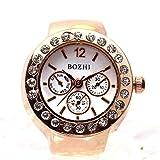 NO BRAND Anillo de la Novedad 5 PCS, Tresmirilla dial diseño Redondo con el Anillo de Diamante del Reloj (de Oro Rosa) (Color : Rose Gold)