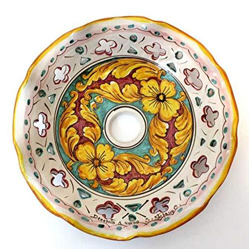 ILAB Piatto in ceramica ricambio per lampadario art.giulia, firmato e decorato a mano dai maestri ceramisti di santo stefano di camastra, diametro 30cm, foro E27 attacco grande