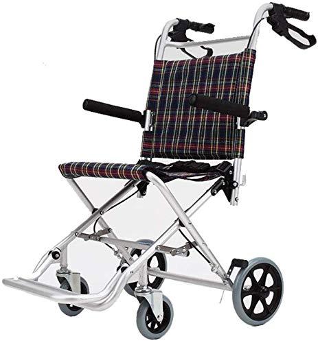 LXTIN Tragbarer Flugzeugrollstuhl, Faltbarer Leichter Aluminiumlegierungs-Ultraleichter Tragbarer Rollstuhl, Älterer Reiserollstuhl-Spaziergänger Der Kinder, Schnell Faltbarer Kompakter Stuhl-Antrieb