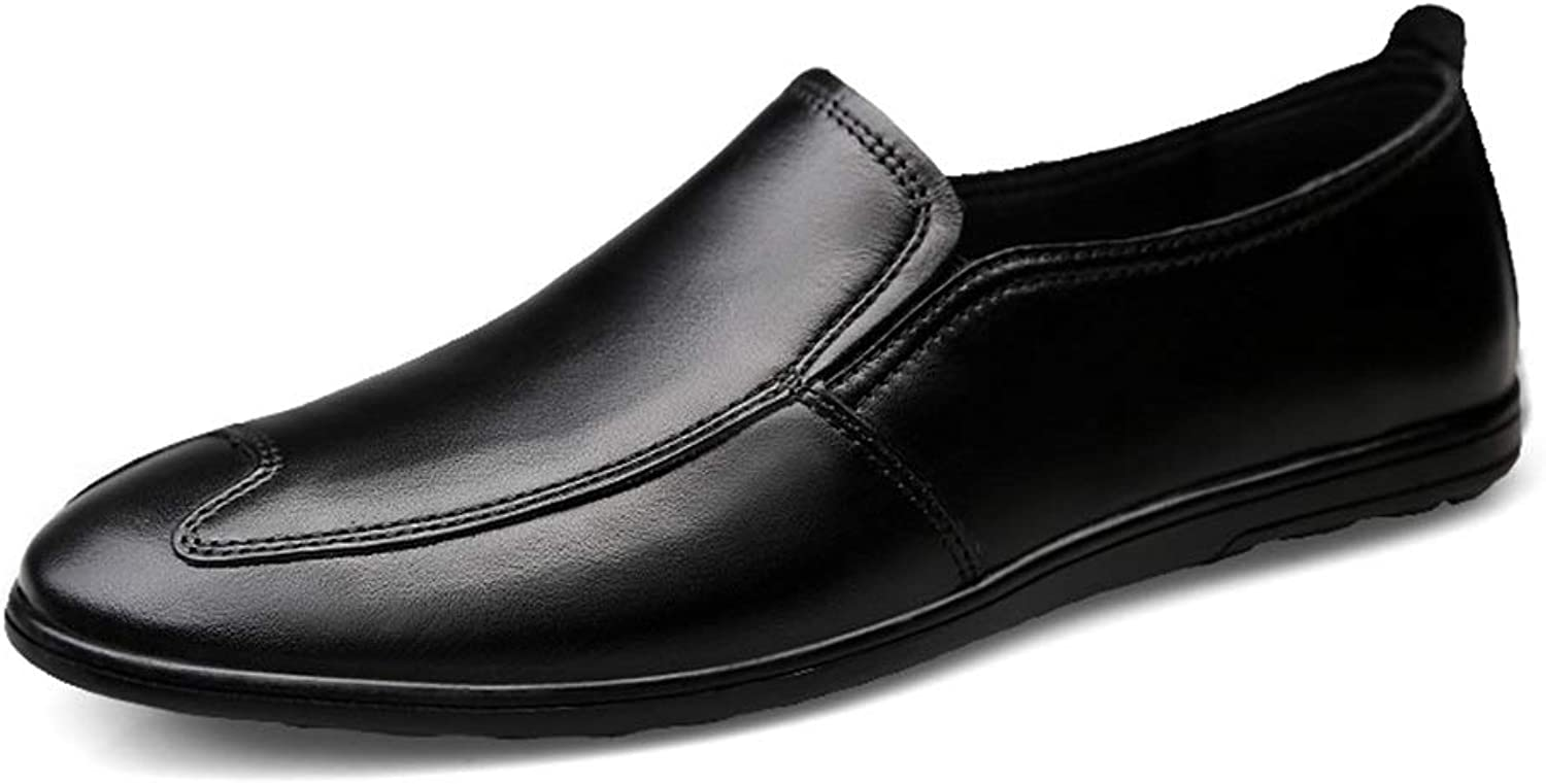 JIALUN-shoes Men's Classical Penny Loafers Drive Flat Embossed shoes Genuine Leather Casual Light-Weight Breathable Round Toe Slip On