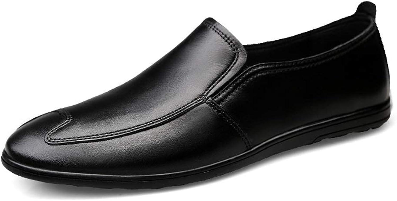 JIALUN-Schuhe Herren Klassische Penny Loafers Drive Flache Geprgte Schuhe Echtes Leder Casual Leichtes Atmungsaktive Runde Zehe Slip On (Farbe   Schwarz, Gre   46 EU)