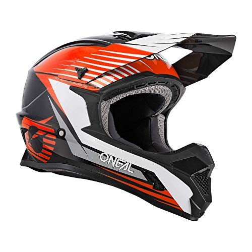 O'NEAL | Motocross-Helm | Kinder | MX Enduro | ABS-Schale, Sicherheitsnorm ECE 22.05, Lüftungsöffnungen für optimale Belüftung & Kühlung | 1SRS Youth Helmet Stream | Schwarz Orange | Größe XL