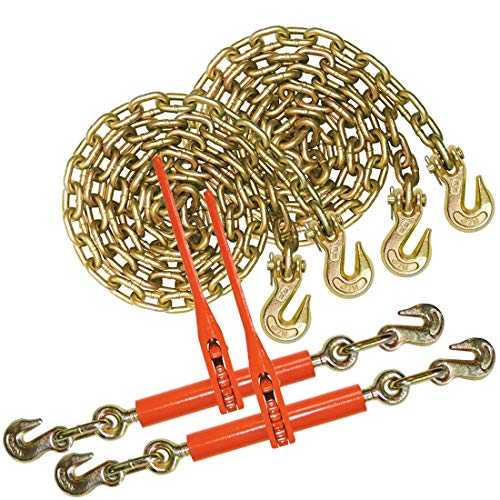 VULCAN Grade 70 Chain and Binder Kit - 3/8 Inch x 20 Foot - 6,600 Pound Safe Working Load