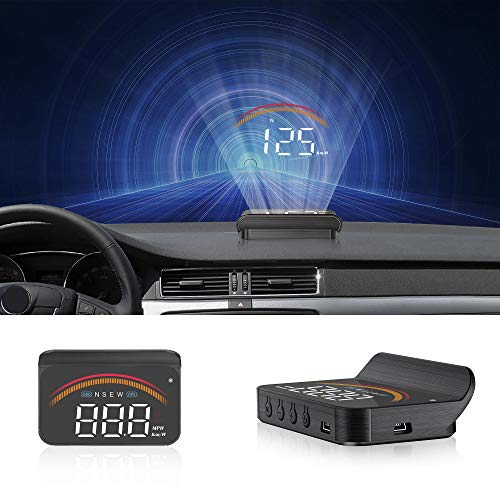 Car HUD Display, iKiKin HUD Head Up Display GPS OBD2 Dual USB Interface with Alarm Systems & Security Digital Windshield Projector for All Vehicles
