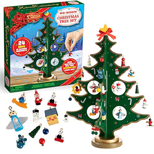 JOYIN Christmas 24 Days Countdown Advent Calendar with a Tabletop Wooden Christmas Tree and 28 Ornaments Decorations for Adults, Boys, Girls, Kids and Toddlers