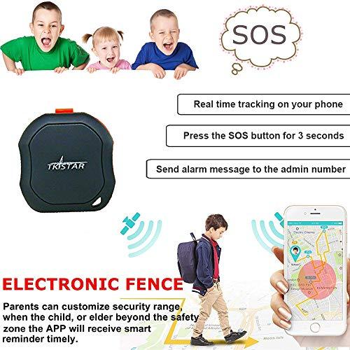 Rastreador GPS personal, mini dispositivo de seguimiento GPS portátil, rastreador GPS en tiempo real, impermeable y de emergencia para niños, adultos, ancianos, mascotas, vehículos y bicicletas, TK1000