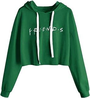 Women's Long Sleeve Hoodie Sweatshirt Letter Print Pullover Crop Tops