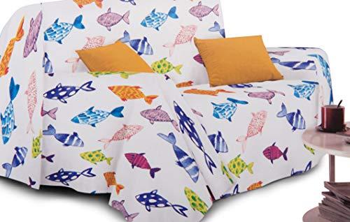 CosìCasa - Funda para sofá con estampado de verano, tamaño 160 x 250 cm, fabricada en Italia, sábana cubretodo con peces de colores   Colcha individual Granfoulard - [1 plaza, peces de colores]