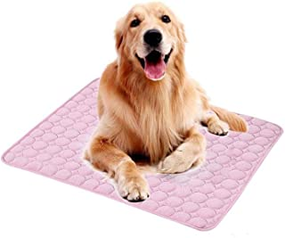 Guhih Pet Cooling Mat, Heat Relief Mat Dog Cooling Pad, Ice Silk Material Soft and Ease Cat Cool Mat Summer,Pink,5040cm(19.715.7inch)
