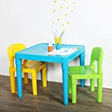 Humble Crew, Aqua Table & Green/Yellow Kids Lightweight Plastic Table and 2...